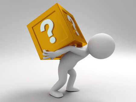 A 3d people was carrying question box away Stock Photo - 15409781