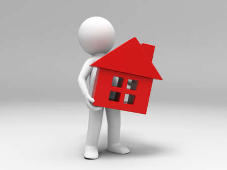 A 3d people was holding a house Stock Photo - 15409685