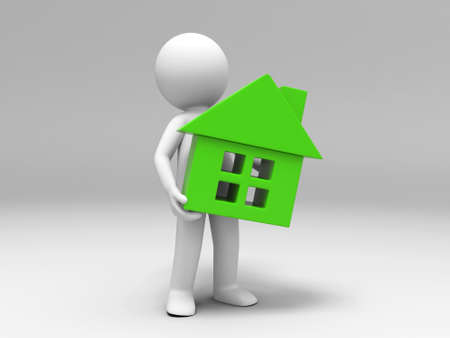 real estate people: A 3d people was holding a house Stock Photo