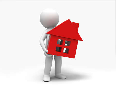 A 3d people was holding a house Stock Photo - 15409680