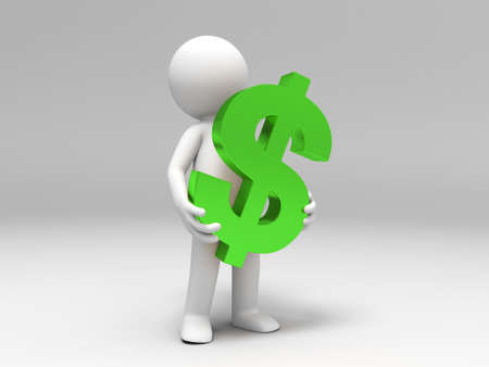 A 3d people was holding U S  dollar Stock Photo - 15409689