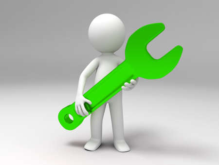 A 3d people was holding a wrench Stock Photo - 15409692