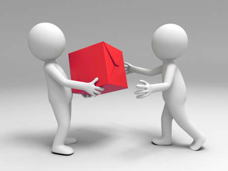 delivery man: A 3d people brought the package to the other
