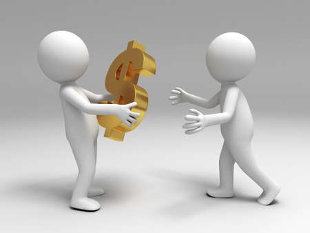 A 3d people brought the money to the other Stock Photo - 15406115