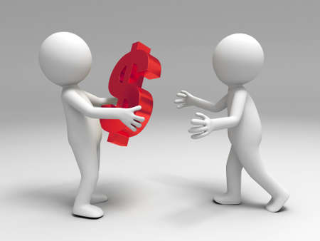 ingresos: Un pueblo 3d trajo el dinero a la otra Foto de archivo