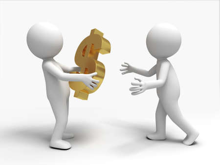 A 3d people brought the money to the other Stock Photo - 15406109