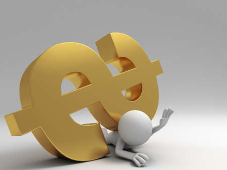 A 3d people was pinned by dollars Stock Photo - 15406119