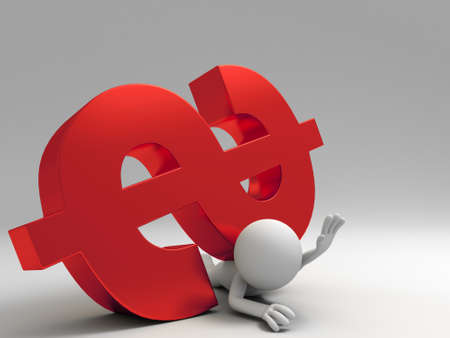 A 3d people was pinned by dollars Stock Photo - 15406108