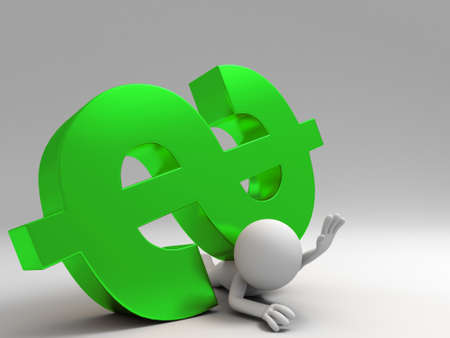 A 3d people was pinned by dollars Stock Photo - 15406120