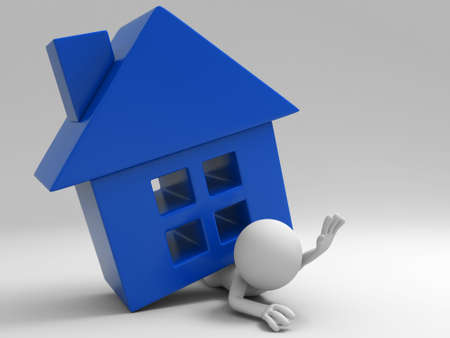 A 3d people was pinned by house Stock Photo - 15406107