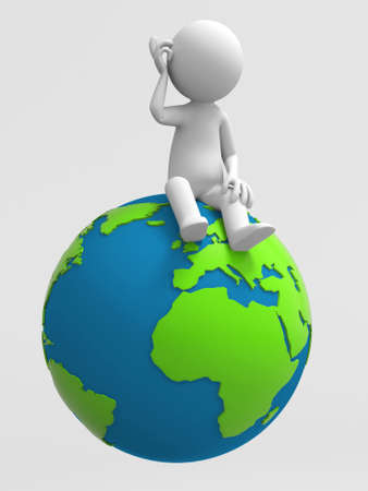 world thinking: A 3d people is sitting on the earth