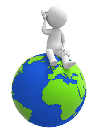 A 3d people is sitting on the earth Stock Photo - 15406099