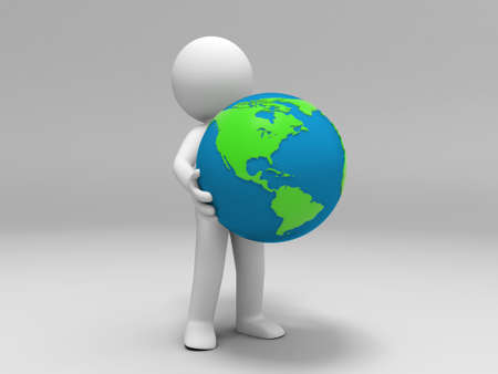 A 3d people was holding the earth photo