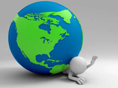 search query: A 3d people was pinned the earth Stock Photo