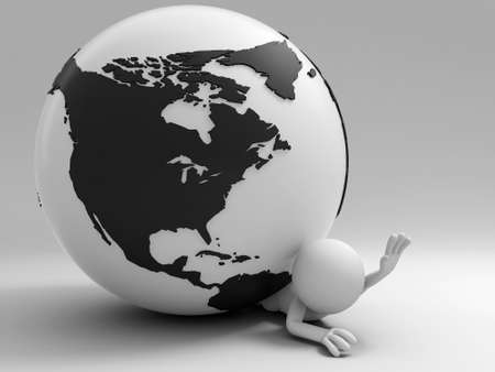 A 3d people was pinned the earth Stock Photo - 15406069