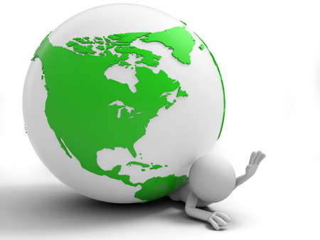 depressed person: A 3d people was pinned the earth Stock Photo