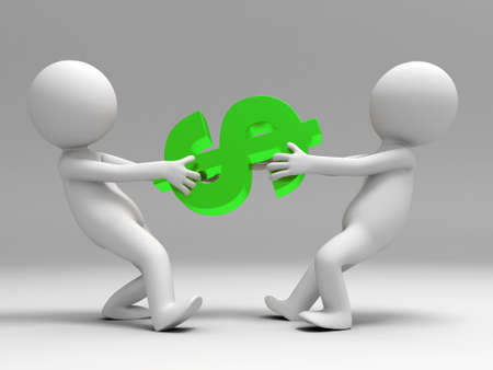 Two 3d people were battling for the dollar Stock Photo - 15406065