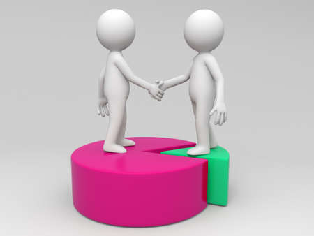 Two 3d people are shaking hands photo