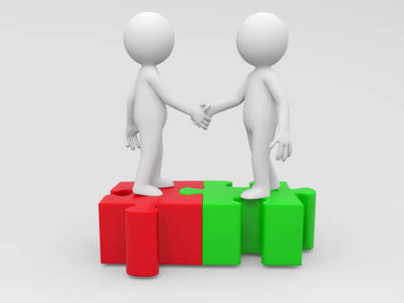 Two 3d people are shaking hands Stock Photo - 15405917
