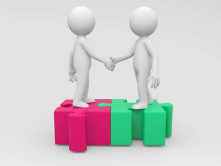business people shaking hands: Two 3d people are shaking hands