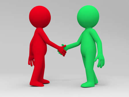 black man white woman: Two 3d people are shaking hands