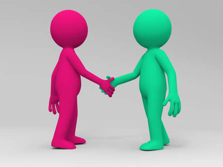 two people meeting: Two 3d people are shaking hands