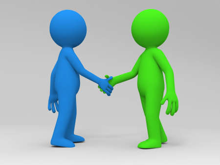 shakes: Two 3d people are shaking hands