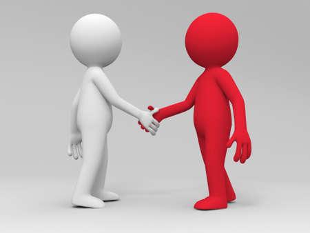 mani che si stringono: Due persone 3d sta agitando le mani