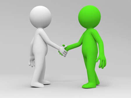 rendered: Two 3d people are shaking hands