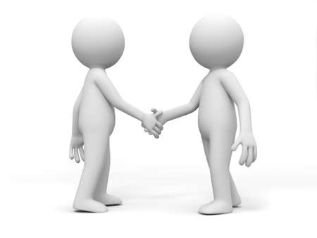 greeting people: Two 3d people are shaking hands