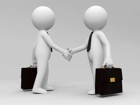 agreement shaking hands: Two 3d people are shaking hands
