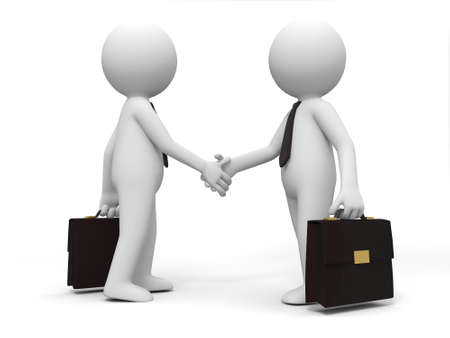 businessmen shaking hands: Two 3d people are shaking hands