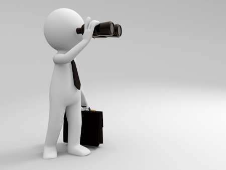 binocular: A 3d people is using the telescope Stock Photo