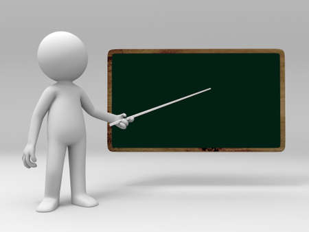pointed to: A 3d people is pointed at the blackboard Stock Photo