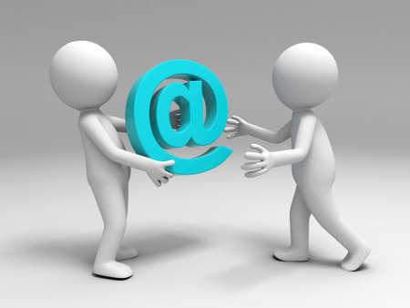 Email: Ein 3D-Leute brachten eine E-Mail-Zeichen auf den anderen