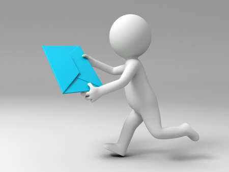 A 3d people is running to send a letter Stock Photo - 15397827