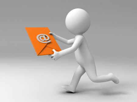 mail man: A 3d people is running to send an E-mail