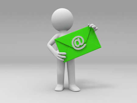 send email: A 3d people is holding an E-mail