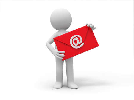 email communication: A 3d people is holding an E-mail