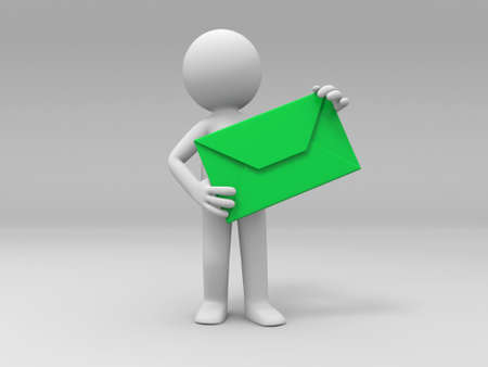 A 3d people is holding an letter Stock Photo - 15405650