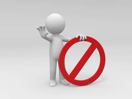 A 3d people is holding a prohibitory sign Stock Photo - 15405622