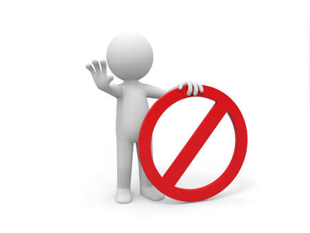 A 3d people is holding a prohibitory sign Stock Photo - 15405619