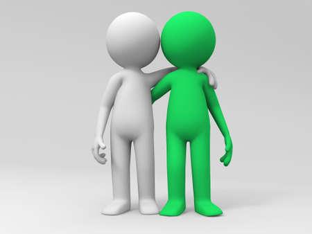 due amici: I due amici stavano fianco a fianco insieme