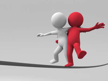 venture: Two 3d people are walking in steel wire