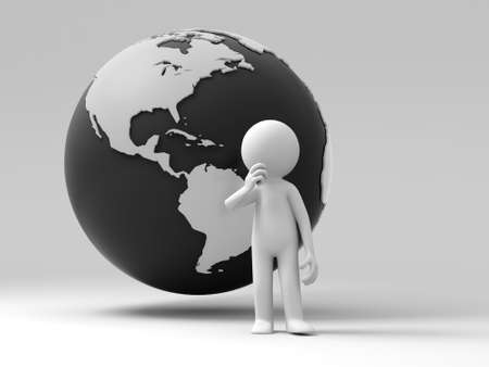 world thinking: A person standing in front earth thinking
