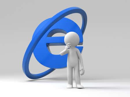 Une personne debout en face d'un signe internet Banque d'images