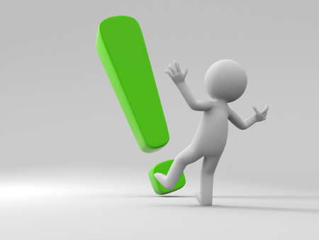 A person standing in front of the exclamation mark Stock Photo - 15405560