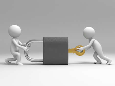 A 3d people are turning the key in the lock Stock Photo - 15405545
