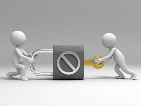 A 3d people are turning the key in the lock Stock Photo - 15405533