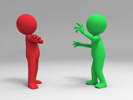 negotiations: A man in explain to another person